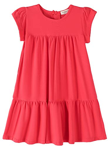 Youwon Toddler Girls Dress Short Sleeve Solid Color Tunic A-Line Tiered Swing Dress 2-6 7-16 ()