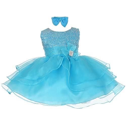 Shanil Inc. Baby Girls Turquoise Rhinestuds Bow Sash Flower Girl Headband Dress 3M from Shanil Inc.