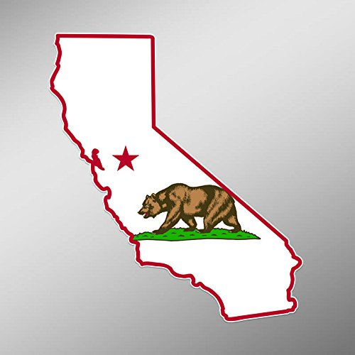 PD249 2-Pack California State Flag Outline Decal Sticker | 5.5-Inches | Premium Quality Vinyl