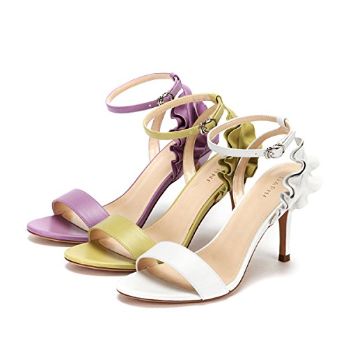 Moda Sólido Sandalias de Verano Femeninas Purple Zapatos Hoja ...