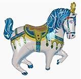 "35"" BLUE CAROUSEL HORSE foil BALLOON party CIRCUS favors CARNIVAL"