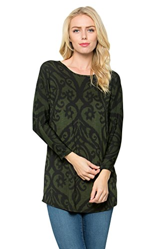 (Junky Closet Women's 3/4 Dolman Sleeve Scoop Neck Tunic Top (Small, L1438DM Olive Black))