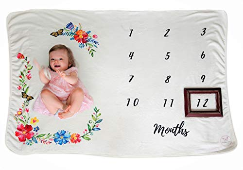 """Monarch Babies   Monthly Milestone Blanket - Floral 60"""" x 40"""" Thick Ultra-Soft Fleece Backdrop Baby Photography Prop for Newborn Boys & Girls by Monarch Babies (Image #1)"""