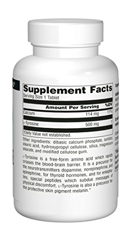 Source Naturals L-Tyrosine 500mg Free Form Amino Acid – 100 Tablets Pack of 3