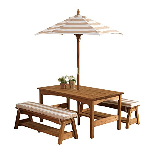 (KidKraft 00 Outdoor Table and Bench Set with Cushions and Umbrella, Espresso with Oatmeal and White Striped Fabric)