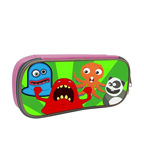 Funny Animals, Ghosts and Monsters Large Capacity Dirty and Waterproof Multi-Layer Pencil Case Pink
