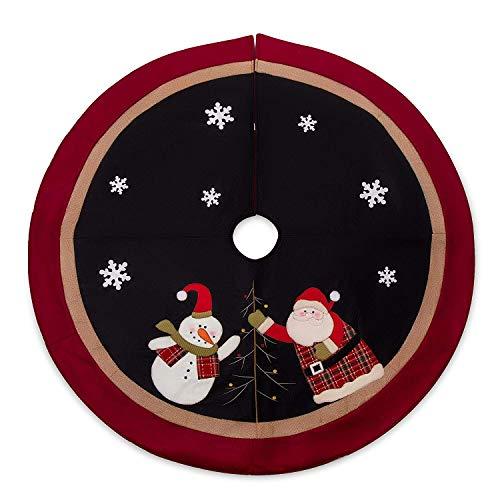SANNO 42 Black Christmas Tree Skirt Santa, Snowman Santa Xmas Tree Decorations Skirts Holiday Ornaments Double Edges Double Layers Tree Skirt Xmas Holiday Decorations Indoor Outdoor