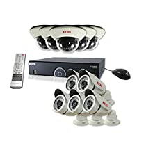 REVO America Security System (White) - 16 Channel 4TB DVR with (Pack of 10) 100 ft Night Vision Cameras (Dome and Bullets)