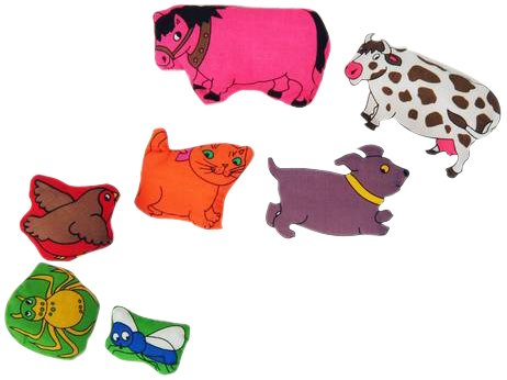 There Was an Old Lady...7 Bean-Filled Animals (Plush Toys) Dolls And Puppets