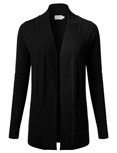 FLORIA Women Open Front Draped Long Sleeve Soft Knit Cardigan Sweater w/ Pockets BLACK 2XL (Inc Black Cardigan compare prices)
