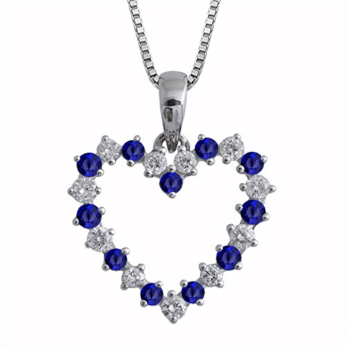 14K White Gold Heart Diamond and Blue Sapphire Necklace (0.48 Carat)