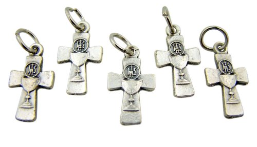 Chalice Center - Silver Tone IHS Chalice Center Cross, 3/4 Inch, Set of 5