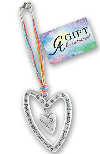 Cathedral Art KT604 Sister Please Be Safe Heart Car Charm, 7-Inch - Frame Photo Art Heart Charm