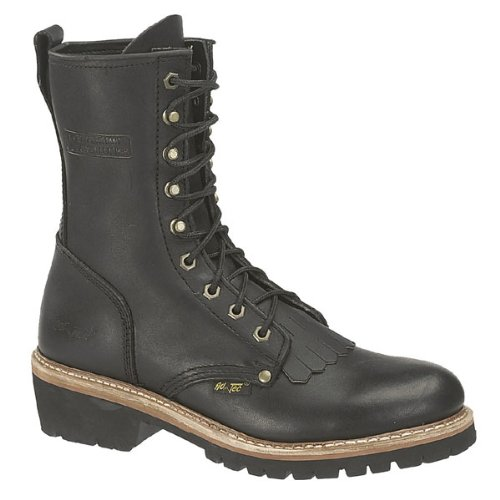AdTec Mens Black 10in Fireman Logger Kiltie Leather Work Boots 13 W