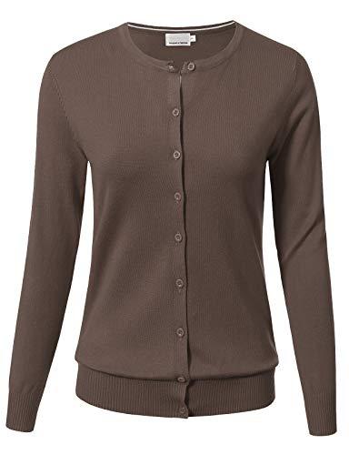 ARC Studio Women Button Down Long Sleeve Crewneck Soft Knit Cardigan Sweater 2XL Camel ()