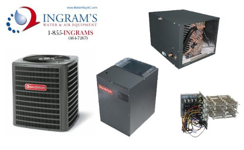 Goodman R410A 16 SEER Complete Split System Heat Pump 4 Ton, SSZ160481, CHPF4860D6, MBVC2000AA, TX5N4(Horizontal Coil) (4 Ton Electric Furnace compare prices)