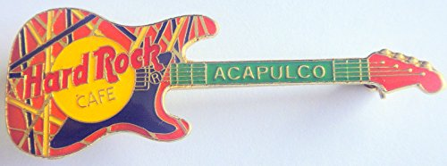 (Acapulco Mexico Hard Rock Café Orange Strat w/EVH stripes Guitar Pin)