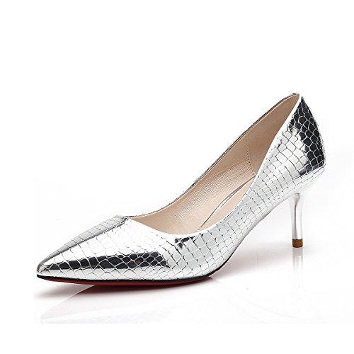 Dames Élégant Aiguille Faux Slip Escarpins Chaussures Bout Pointe Croco On Argent Pompes Talon Stiletto Confortable Antidérapant Peau Cuir Casual de Féminins PU Inconnu dT5qC4d