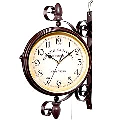 Double Sided Wall Clock 360 Degree Rotation Home Décor Wall Clock Outdoor Wrought Iron Garden Clock Metal Clock Two Faces Antique Wall Clock Hanging Clock with Mounting Bracket for Indoor Décor, Brown