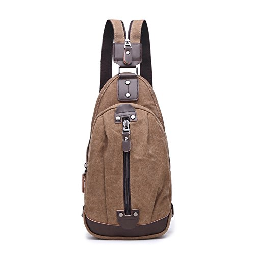 Sling Chest Bag Leparvi Backpack Purse Canvas Fashion Rucksack Unbalance One Strap Cross body Messenger Bag Balance Teen Satchel(Coffee-2) by Leparvi