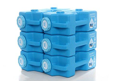 (AquaBrick Emergency Water & Food Storage Container, Portable Stackable Storage Containers, Water Storage, BPA Free by SaganLife (6-Pack))