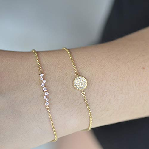 - 14k Solid Yellow Gold Round Disc chian Bracelet Genuine Pave SI Clarity G Color Diamond Handmade Minimalist Wedding Jewelry Gift