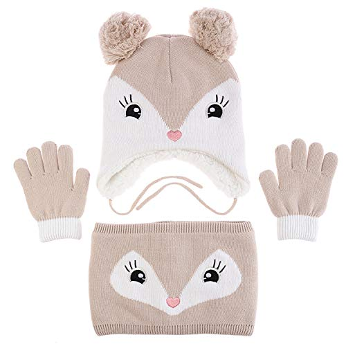 Accessories Gloves Scarves - Adorable Fox Hat Gloves Scarf Set Warm Knit Baby Cotton Earflap Cap and Scarves with Stretchy Baby Gloves (M)