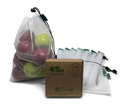 One Earth Global Premium Reusable Mesh Produce Bags ~ Complete Set of 9 Reusable Produce Shopping Bags