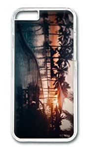 MOKSHOP Adorable beach resort sunset Hard Case Protective Shell Cell Phone Cover For Apple Iphone 6 Plus (5.5 Inch) - PC Transparent