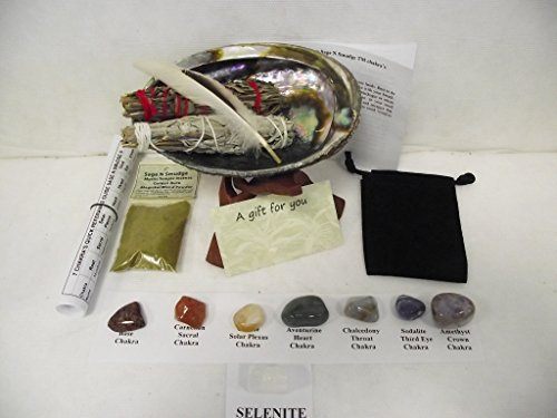 Chakra Smudge Kit Plus Lavender Gift Set with 7 Crystals & Full Directions (Mystic Temple Incense)