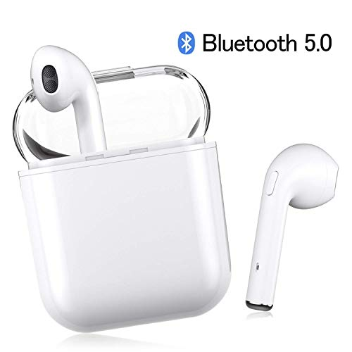 Bluetooth Headset, Wireless Headset Bilateral Call Bluetooth Headset 5.0in-Ear Earphones Stereo in-Ear Microphone Built-in Handsfree Headphones for Apple Airpods Android/iPhone