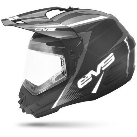 EVS Sports T5 Dual Sport Venture Helmet (Matte Black/White, XX-Large)