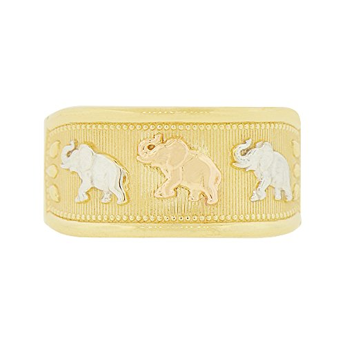 14k Tricolor Gold, Lucky Elephants Tapered Band Ring Size 9