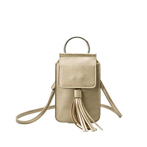 Melie Bianco Messenger (Melie Bianco Dory iPhone Tassel Crossbody Bag, Gold)