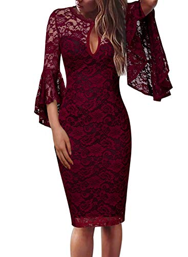VFSHOW Womens Dark Red Floral Lace Keyhole Front Ruffle Bell Sleeves Fitted Cocktail Party Sheath Dress 960 DRED XS