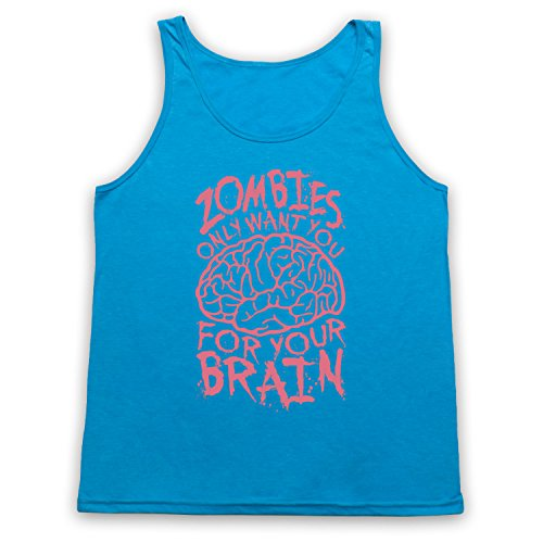 Zombies Only Want You For Your Brain Funny Slogan Tank-Top Weste, Neon Blau, XL