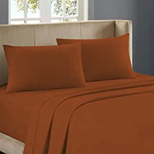 300 TC 100% Egyptian Cotton Sheet Set With 2 White Pillowcases Solid Twin Brick Blood Red