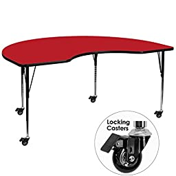 Flash Furniture Mobile 48 by 72-Inch Kidney Shaped Activity Table with 1.25-Inch Thick High Pressure Red Laminate Top and Standard Height Adjustable Legs