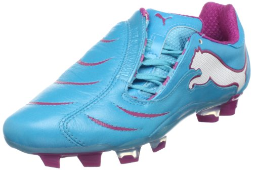Puma Women's Powercat 2.10 FG Soccer Cleat,Blue Atoll/White/Festival Fuschia,6 B US