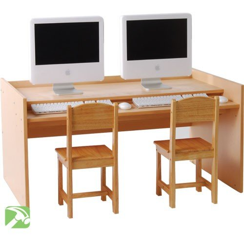 Constructive Playthings WB-424W Double Computer Station (Shown with Chairs- Sold Separately) Grade: kindergarten to 3, Beige