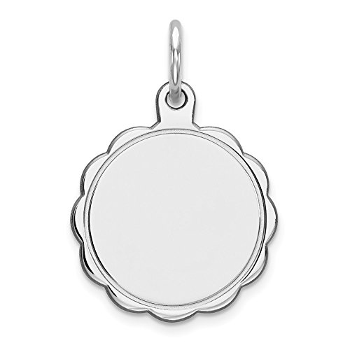 Scalloped Disc Charm - Sterling Silver Engraveable Polished Scalloped Edge Round Disc Charm Pendant 20mm