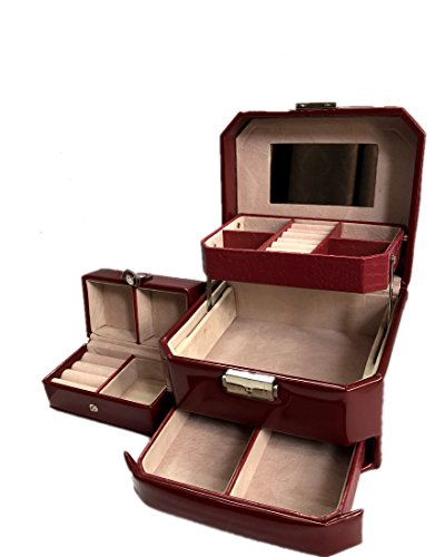 Bordeaux Collection Mirror (Beneking Korean Candy Coloured Jewelry Collection Semi Automatic Drawer European Princess Powder Box)