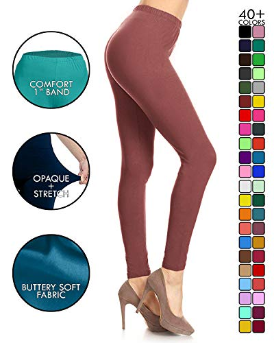 Leggings Depot Ultra Soft Basic Solid REGULAR and PLUS 39 COLORS Best Seller Leggings Pants Carry 1000+ Print Designs (One Size (Size 0-12), ()