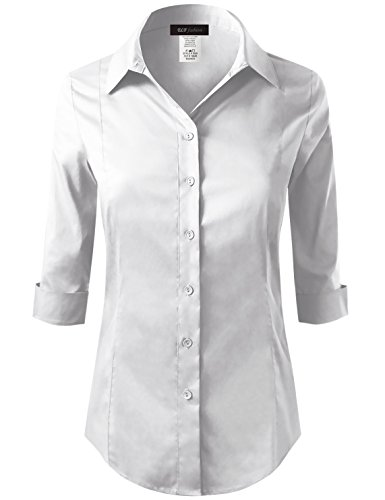 ELF FASHION Roll up 3/4 Sleeve Button Down Shirt for Womens Made in USA (Size S~3XL) White 3XL by ELF FASHION (Image #7)