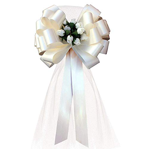 "Ivory Wedding Pull Bows with Tulle Tails and Rosebuds - 8"" Wide, Set of 6"