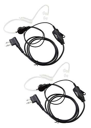Xfox M2PE2202 FBI Style 2Pin PTT Clear Acoustic Coil Tube 1 Wire Earpiece Headset for Motorola 2 Way Radio GP88 300 CT150 P040 PRO1150 SP10 XTN500 Walkie Talkies Devices(2Pack)