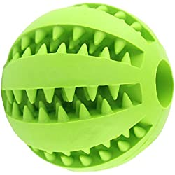 Bouncy Dog Toy Ball for Pet Tooth Cleaning/Chewing/IQ Training,Interactive Soft Rubber Chew toy ball-Bite Resistant,Non-Toxic,Tennis Ball Size2.8inch (Green)