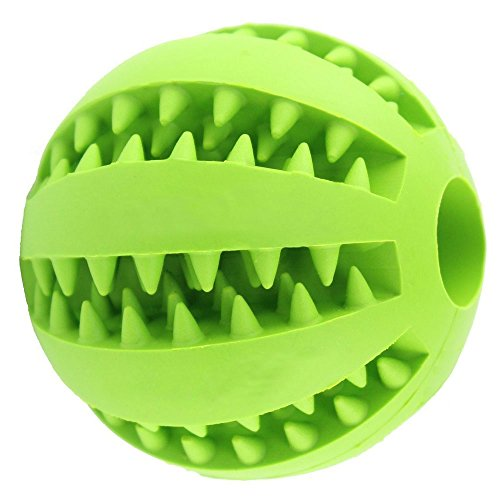 Bouncy Dog Toy Ball for Pet Tooth Cleaning/Chewing/IQ Training,Interactive Soft Rubber Chew toy ball-Bite Resistant,Non-Toxic,Tennis Ball Size2.8inch (Green) ()