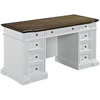 Amazon Com Home Styles Americana White Pedestal Desk