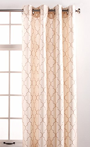 - Stylemaster Hudson 55 by 84-Inch Embroidered Faux Silk Brass Grommet Panel, Vanilla